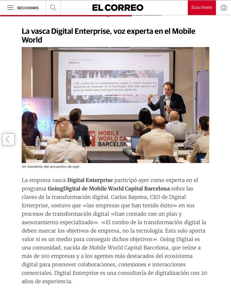 Digital Enterprise, en la prensa del País Vasco en 2018 image